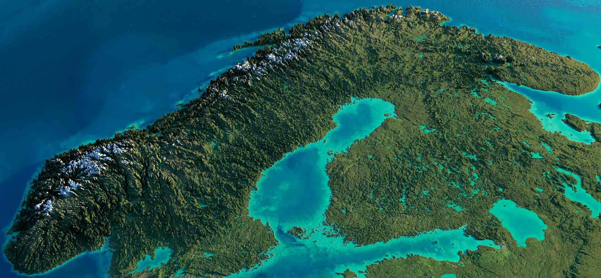Satellitenbild mit Norwegen im Fokus